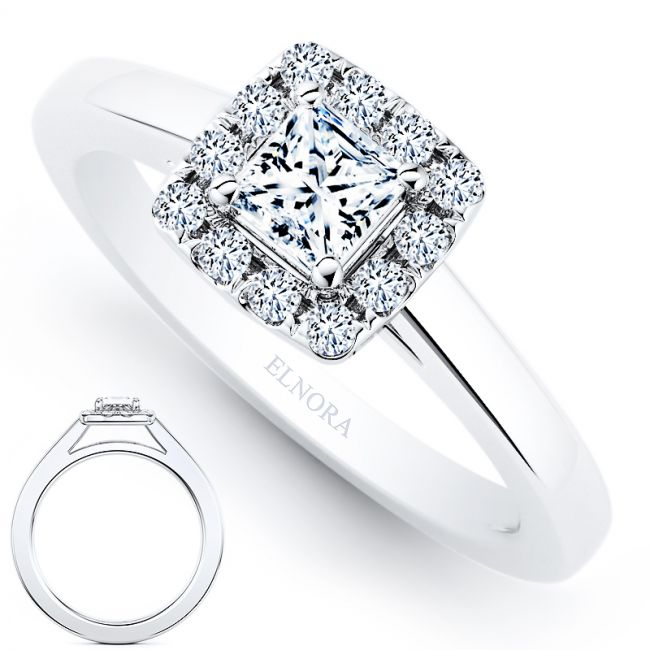Halo Signature Ring - Elegance - Princess 0.42ctw