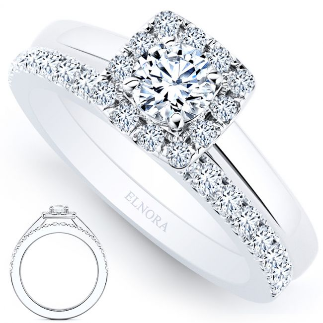 Halo Solitair Geneve Ring Set - Briljant