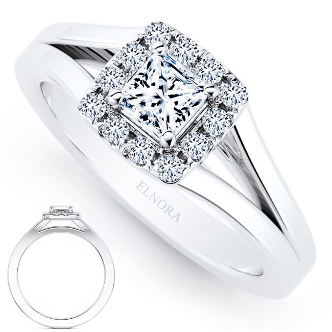 Halo Serenity Signature - Elegance - Princess Ring 0.42ctw