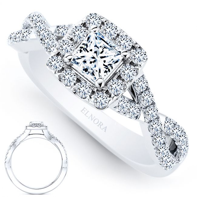 Halo Signature Royal 0.74ctw - Princess Elegance Ring